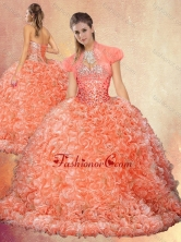 2016 Perfect Brush Train Sweet 16 Dresses with Beading and Ruffles SJQDDT433002FOR