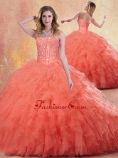 2016 Pretty Ball Gown Orange Red Quinceanera Dresses with Ruffles SJQDDT410002FOR