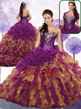 2016 Pretty Sweetheart Beading and Ruffles Quinceanera Gowns in Multi Color SJQDDT457002FOR