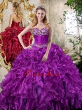 2016 Super Hot Sweetheart Purple Quinceanera Dresses with Beading and Ruffles SJQDDT393002FOR