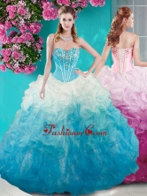 Affordable Beaded Bust White and Blue Quinceanera Dress in Organza SJQDDT678002FOR