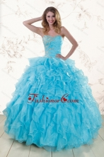 Blue 2015 Prefect Beading and Ruffles Quinceanera Dresses XFNAO011FOR