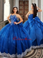 Ball Gown Beaded Royal Blue Sweet 16 Dress with Appliques and Bowknot XFQD1018FOR