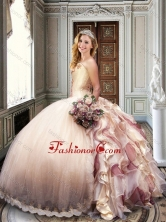 Ball Gown Strapless Champagne Sweet 16 Dress with Appliques and Ruffles XFQD1014FOR