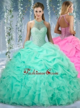 Beautiful Halter Top Beaded and Ruffled Sweet 16 Gown in Mint SJQDDT524002FOR