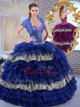 Beautiful Sweetheart Ball Gown Ruffled Layers and Zebra Quinceanera Dresses QDDTL1002-2FOR
