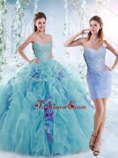 Cheap Beaded Bodice and Ruffled Detachable Sweet 16 Dresses in Aquamarine  SJQDDT537002AFOR