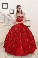 Cheap Sweetheart Appiques and Beaded 2015 Quinceanera Dresses in Red XFNAO5901-2FOR