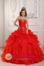 Chiclayo Peru 2013 Strapless Red Appliques and Ruched Bodice Ruffles Organza Quinceanera Dress Style QDZY031FOR