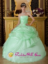 Chimbote Peru Apple Green With Strapless Beads And Ruffles Decorate  Sweet 16 Quinseanera Dress Style QDZY208FOR