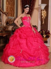Chimbote Peru Lovely Hot Pink Sweetheart Quinceanera Gowns With Appliques and Pick-ups For Sweet 16 Style QDZY372FOR