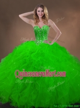 Classical Spring Green Quinceanera Gowns with Beading and Ruffles SWQD050MT-2FOR