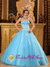 Cusco Peru Baby Blue and White Sweetheart Appliques Ruching Quinceanera Dress Neckline and Tulle Skirt Style QDZY123FOR