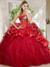 Discount Tulle Beaded and Ruffled Sweet 16 Dress in Red SJQDDT728002FOR