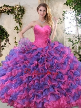 Eggplant Purple and Pink Sweet 16 Dress with Ruffled Layers XFQD1054FOR