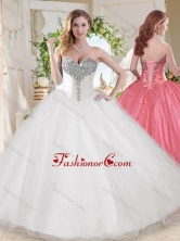 Elegant Ball Gown Sweetheart Beaded Organza Quinceanera Dress in White SJQDDT682002FOR