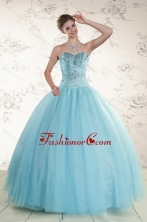 Elegant Beading 2015 Quinceanera Dress in Blue XFNAO735FOR