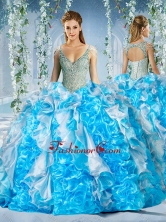 Exclusive Deep V Neck Peach Quinceanera Dress With Beading and RufflesSJQDDT587002FOR
