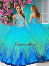 Fashionable Halter Top Rainbow Quinceanera Dress with Beading and Appliques SJQDDT613002FOR