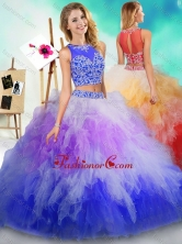 Fashionable See Through Beaded and Ruffled Quinceanera Dress in Rainbow ColoredSJQDDT604002FOR
