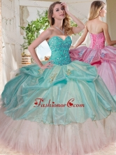 Gorgeous Beaded Bodice and Applique Big Puffy Quinceanera Dress for 2016 SJQDDT730002FOR