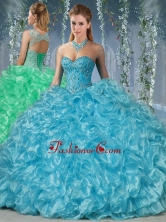 Gorgeous Beaded and Ruffled Big Puffy Quinceanera Dress in Aqua Blue SJQDDT567002FOR
