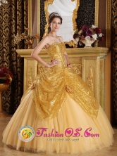 Huamachuco Peru 2013 Hand Made Flowers New Gold Quinceanera Dress Sweetheart Sequin and Tulle Ball Gown Style QDZY286FOR