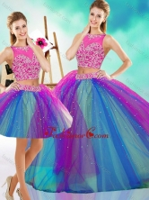 Lovely Beaded Scoop Tulle Detachable Quinceanera Gown in Rainbow Colored SJQDDT600002AFOR