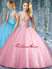 Lovely Pink Big Puffy Beaded Quinceanera Dress with Brush TrainSJQDDT595002FOR