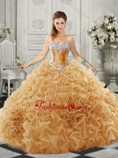 Luxurious Organza Champagne Quinceanera Dress with Beading and Ruffles SJQDDT521002-1FOR