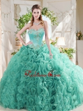 Luxurious Rolling Flower Big Puffy Mint Quinceanera Gown with Beading SJQDDT721002FOR