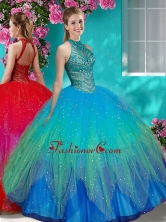Luxurious See Through Halter Top Quinceanera Dress with Beading and Appliques SJQDDT609002FOR