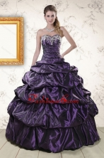 Modern Sweetheart Purple Sweet 15 Dresses with Appliques for 2015 XFNAO126FOR