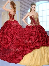 Most Popular Sweetheart Brush Train Pick Ups and Appliques Sweet 16 Dresses QDDTN1002FOR