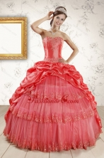 New Style Appliques Quinceanera Dresses in Watermelon XFNAO147FOR