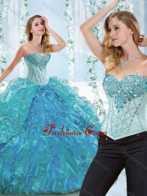 Popular Big Puffy Blue Detachable Sweet 16 Dress with Ruffles and Beading SJQDDT544002AFOR