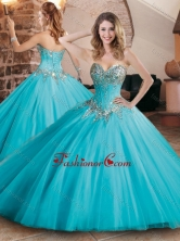 Pretty Visible Boning Tulle Beaded Quinceanera Dress in Aqua Blue XFQD1049FOR