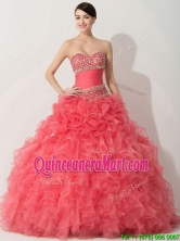 Princess Coral Red Sweet 16 Dress with Beading and Ruffles THQD004FOR