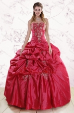 Puffy Strapless Hot Pink Quinceanera Dresses with Embroidery XFNAO189FOR