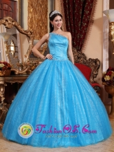 Puno Peru One Shoulder Beaded Decorate Asymmetrical New Style Teal Quinceanera Dress Tulle and Taffeta Ball Gown For 2013 Style QDZY731FOR