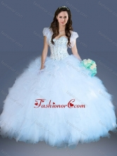 Really Puffy Light Blue Quinceanera Dress with Beading and Ruffles XFQD1028FOR