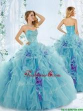 Sweet Beaded Aque Blue Detachable Quinceanera Dresses in Organza  QDDTC53002FOR
