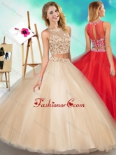 Two Piece See Through Scoop Quinceanera Dress with Beading and AppliquesSJQDDT599002FOR