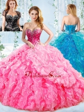Visible Boning Big Puffy Detachable Quinceanera Dress with Ruffles and Beading SJQDDT546002FOR