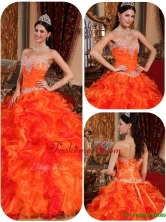 Exclusive Appliques and Beading Orange Quinceanera Gowns for 2016  QDZY061BFOR