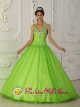 2013 A-line Popular Spring Green Halter-top Quinceanera Gowns With Tulle Beaded Decorate IN  Castillos Uruguay Style QDZY347FOR