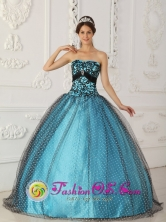 2013 Customer Made Elegant Black and Blue Beading and Appliques Quinceanera Gowns With Taffeta and Tulle In  Canelones Uruguay  Wholesale Style QDZY238FOR