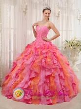 2013 Sweetheart Multi-color Quinceanera Dress Clearance With Appliques and Ruffles Decorate IN San Ramon Uruguay Style QDZY337FOR
