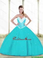 2015 Fall Luxurious Aqua Blue Quinceanera Dresses with Beading and Ruffles SJQDDT88002FOR