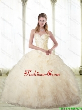2015 Fall New Arrival Champagne Sweetheart Quinceanera Dresses with Beading SJQDDT66002FOR
